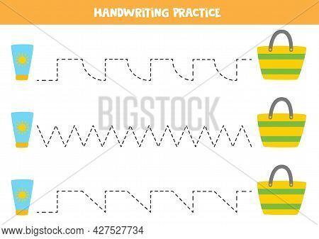 Tracing Lines For Kids With Cartoon Sun Cream And Bag. Summer Worksheet.