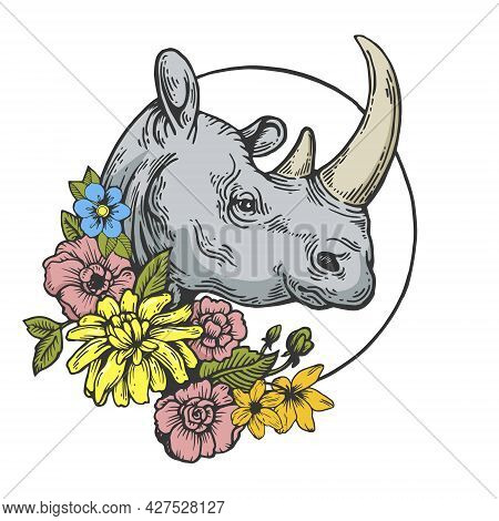 Rhinoceros And Flowers Tattoo Color Line Art Sketch Engraving Vector Illustration. T-shirt Apparel P