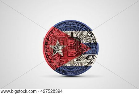 Cuba Flag On A Bitcoin Cryptocurrency Coin. 3d Rendering