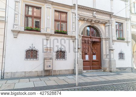 Gorlitz, Germany - June 2, 2021: Entrance To Old Town Hall. The City hall Of The City Gorlitz Is S