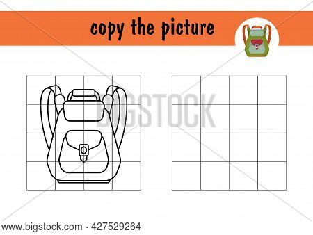 Draw A Cartoon School Backpack Using The Example. Children S Mini-game On Paper, Learning To Draw. C