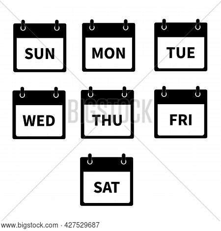 Days Of The Week Icon On White Background. Every Day Week Calendar Sign. Flat Style.