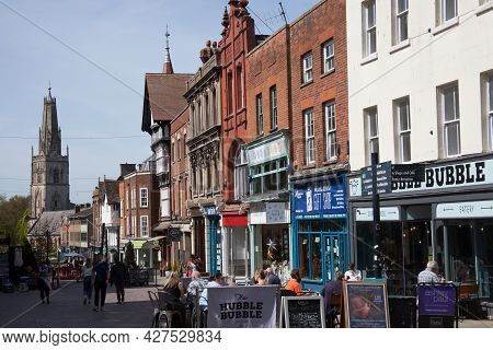 Views Of People Eating Outside In Gloucester In The Uk, Taken On 24th April 2021