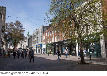 Shops On The High Street In Gloucester In The United Kingdom, Taken On 24th April 2021