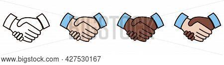 Handshake Illustration. Friendship Vector. Outline And Filled Style. Handshake Symbol In Different S