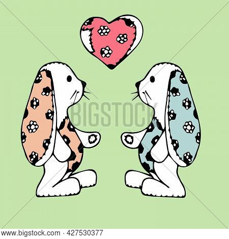 Wo Bunnies In Love With A Heart Made Of Fabric. Children's Print