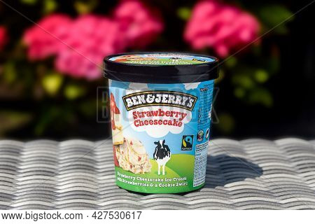 Rotterdam, The Netherlands - July 2021: Ben & Jerry's Strawberry Cheesecake Ice Cream Against  Natur