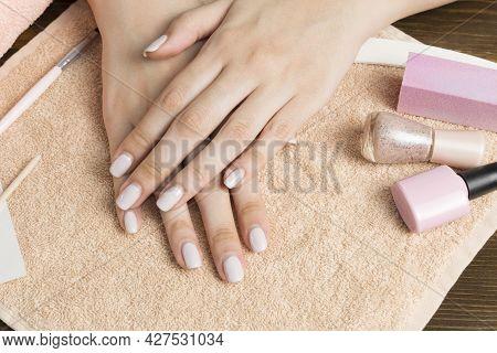 Overgrown Nail Polish. Manicure Correction. An Old Manicure. Nail Care. Beauty Salon, Spa, Procedure