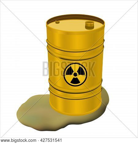 Yellow Metal Barrel With Radioactive Waste And Spilled Liquid. Concept Of Pollution. Toxic Refuse Ke
