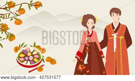 Chuseok - Korean Thanksgiving Day. Persimmon Tree With Fruits And Leaves. Songpyeon - Pine Cakes Sha