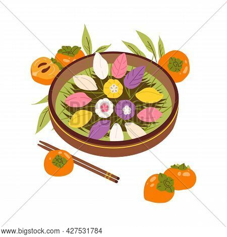 Songpyeon For Korean Chuseok. Pine Cakes Mid Autumn Festival. Rice Cake Shaped Crescents On Platter