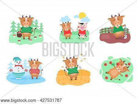 Cartoon Animal, Cow Character For New Calendar.