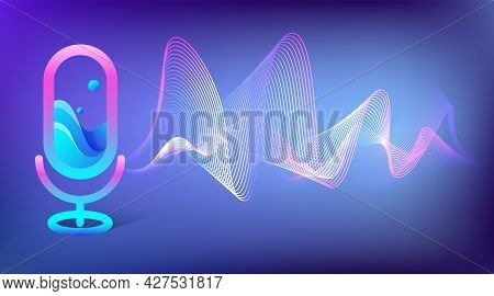 Virtual Assistant Concept With Microphone Icon And Voice Wave. Voice Recognition, Personal Ai Assist