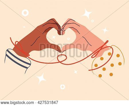 Two Hands Folded In Shape Of Heart. Multinational Hand Of Couple Touch Each Other. Love Or Friendshi