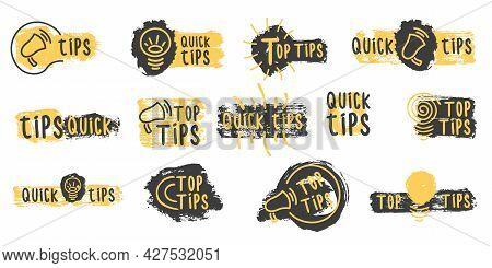 Quick Tips, Tricks Doodle Logos, Emblems, Banners.