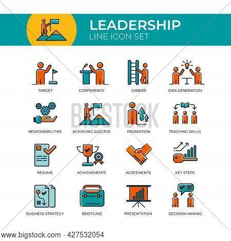Leadership Multicolor Line Icon Set Of Target, Conference, Idea Generation, Responsibilities, Achiev