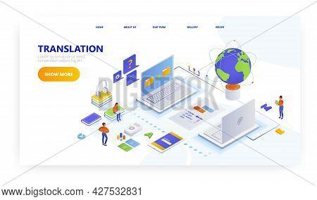 Online Translation, Landing Page Design, Website Banner Vector Template. Learning Of Foreign Languag
