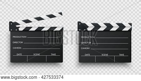 Realistic Black Movie Clappers Board Set. Clapboards Open And Closed. Movie, Cinema, Film Symbol Con