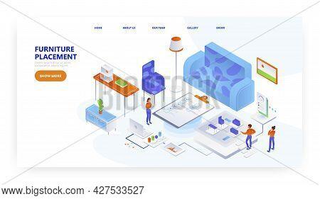Furniture Placement, Landing Page Design, Website Banner Vector Template. Home Furniture Arranging.
