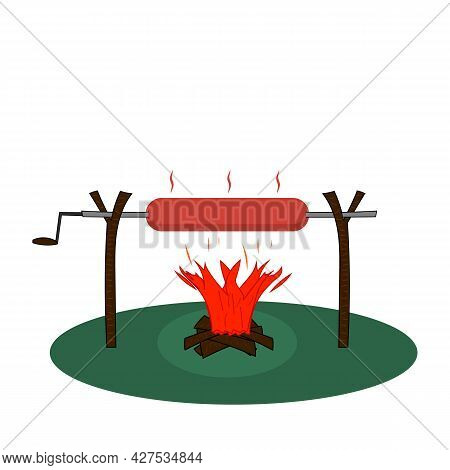 Big Hot Link Sausage Grilled On A Campfire And Skewer. Vector Illustration On Blank Clear Background