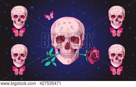 Human Skull With Rose Flower And Butterfly On Hypnotic Background. Cute Gothic Skull. Vector Illustr