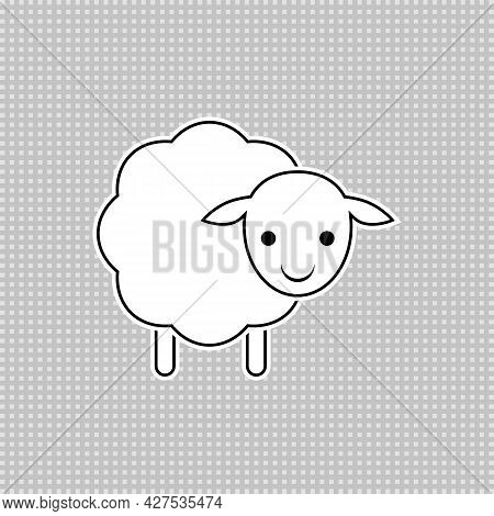Baby Sheep Icon. Vector Drawing. Lamb Linear Outline Illustration. White Silhouette.