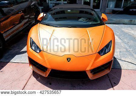 Los Angeles, California Usa - April 14, 2021: Orange Lamborghini Aventador Parked In La. Front View