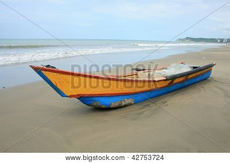 Bow of a Blue and Yellow Fishing Boat
