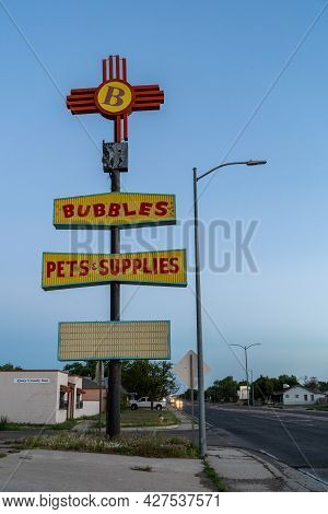 Tucamcari, New Mexico - May 6, 2021: Sign For The Bubbles Pets And Supplies Shop, Along Historic Rou