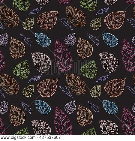Autumn Leaf Outlines, Seamless Pattern. Blue, Brown, Gold, Green, Red Color Scheme On Dark Backgroun