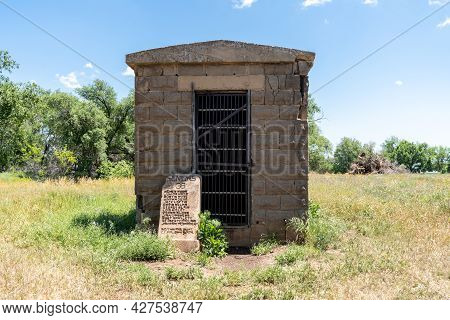 Texola, Oklahoma - May 6, 2021: The Historic One Room Jail On Route 66