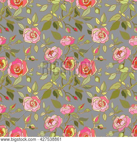 Cute Floral Pattern Of Pink,red Roses Flowers. Seamless Print With Garden Flowers On Light Grey Back