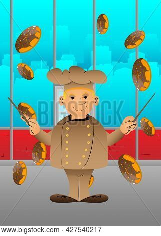 Fat Male Cartoon Chef In Uniform As An Orchestra Conductor. Vector Illustration. Bake, Cook Having F