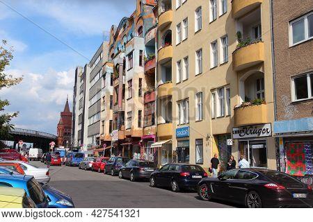 Berlin, Germany - August 26, 2014: People Visit In Wrangelkiez Area Of Kreuzberg District In Berlin.