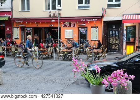 Berlin, Germany - August 26, 2014: People Dine Out In Wrangelkiez Area Of Kreuzberg District In Berl