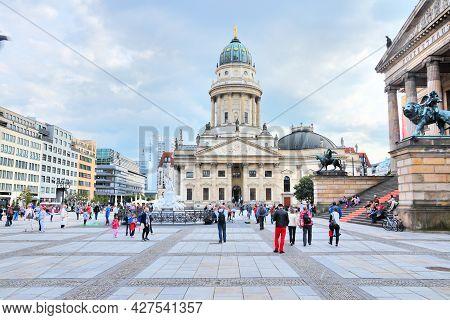 Berlin, Germany - August 26, 2014: People Visit Gendarmenmarkt Square In Berlin. Berlin Is Germany's