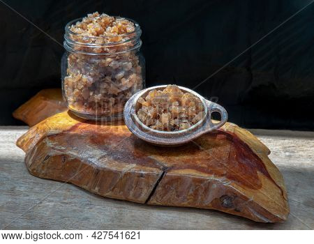 Chopped Pickled Turnip Is Made By Pickling Daikon Radish (preserved Radish) In Cup And Glass Jar On