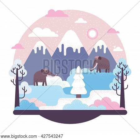 Two Woolly Mammoth Stay On Glacier - Vector Illustration With Prehistory Animals, Icy Mountains And