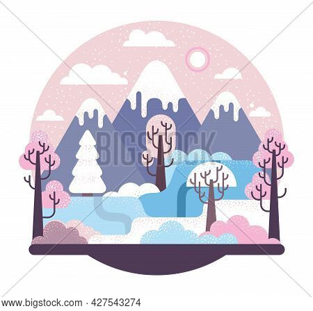 Snow-covered Fields And A Icy Peak Mountain, Trees And Fir-trees - Vector Cartoon Illustration In Fl