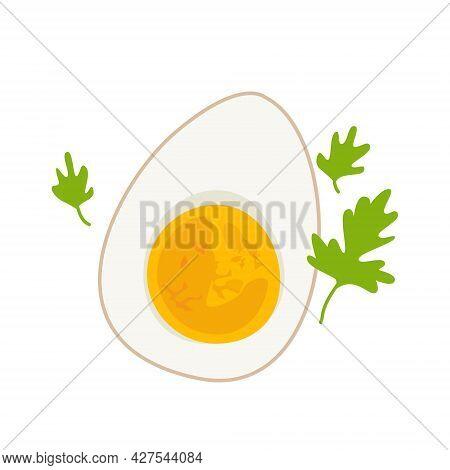 Hard Boiled Sliced Egg Vector Illustration Is Good As Icon, Restaurant Menu Design Element, Shop Sig