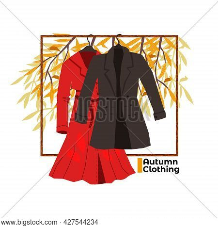 Vector Illustration With Warm Autumn Clothes Hanging On A Hanger Against The Background Of Autumn Na
