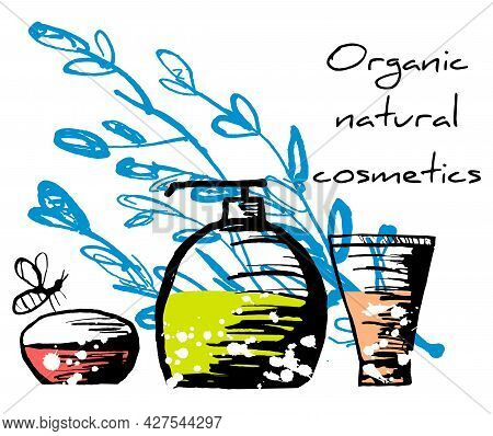 Vector Set Of Bottles, Jars With Organic, Natural Cosmetics, Liquids On The Background Of An Abstrac