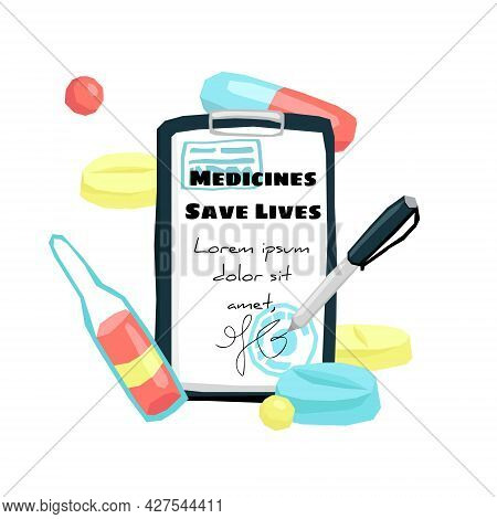 Vector Flat Illustration With A Doctor S Tablet, Where Sheet With Medical Documentation, Prescriptio