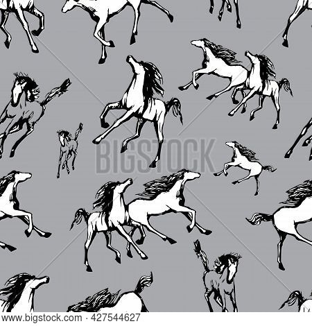 Galloping Horses On Grey Background . Drawn Seamless Pattern. Silhouettes And Linear Figures Of Runn
