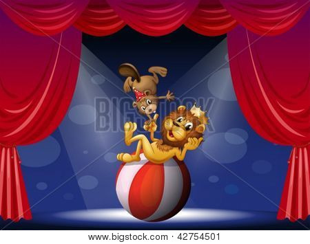 Illustration of a lion and a beaver performing at the stage