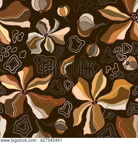 Marble Texture Seamless Pattern. Brown, Yellow, Gold Abstract Background. Seamless Liquid Fluid. Ebr