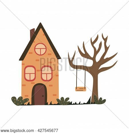 Cute Unusual Brick House With A Triangular Roof. Swing On A Tree Branch. Colorful Vector Isolated Il
