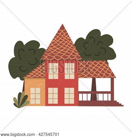 Large House With A Covered Terrace And Tall Trees. Colorful Vector Isolated Illustration Hand Drawn.