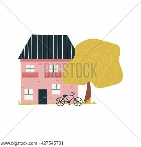 Pink Brick House With Balconies. The Bike Stands Next To A House And A Tall Tree. Colorful Vector Is