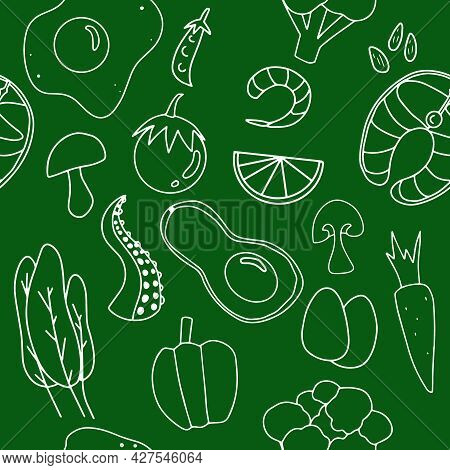 Keto Food White Line Art Seamless Pattern On Green Background.